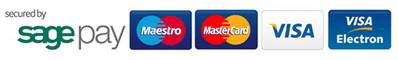Secured by SagePay with Maestro Mastercard Visa and Visa Electron card logos